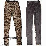: Wet look Leo Leggings mit Pailetten