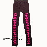 Leggings with cuts and pink lace trim