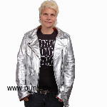 Silver coloured girls leatherjacket de luxe