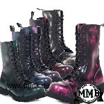 Boots and Braces: Stiefel 10 Loch, pink rub off mit Stahlkappen