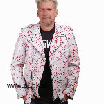 White de luxe Leatherjacket with red blood splatter