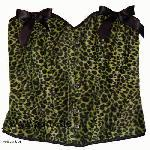 Hell Bunny: Corset with soft yellow-green leofakefur