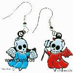 Earrings: skulldevil and angel