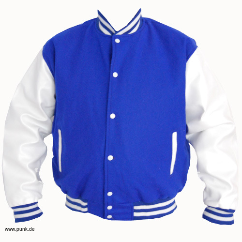 Collegejacket, blue with white sleeves