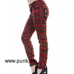 Banned: Skinny Jeans, rotes Tartan