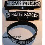 Love Music - Hate Fascism Silikon Armband