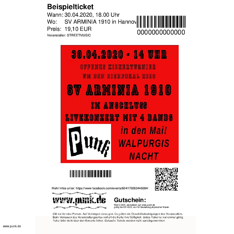 : Punk in den Mai, Open Air 30.04. 2020 Hannover